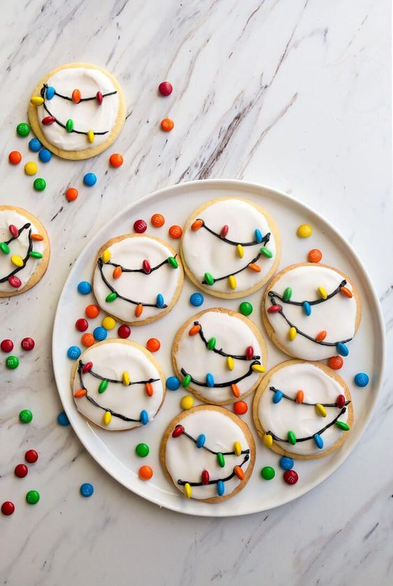 biscoitos natal decorados luzes
