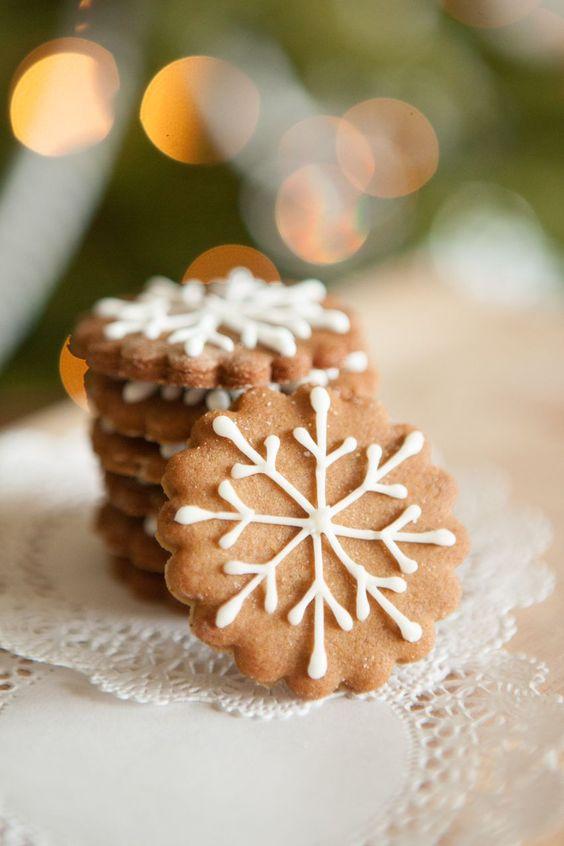 biscoitos natal decorados simples floco neve