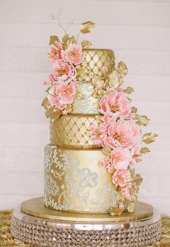bolo noiva dourado