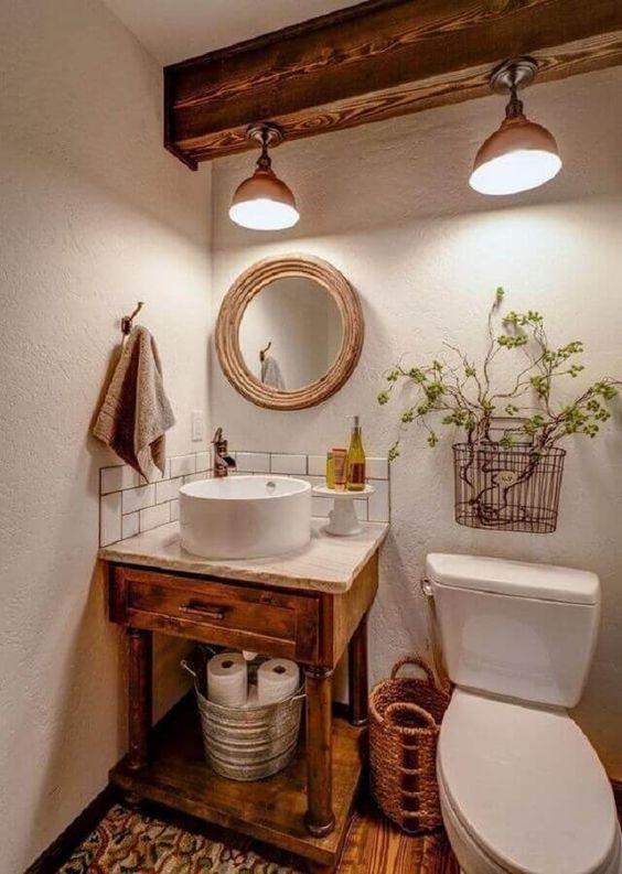 decoracao banheiro rustico madeira