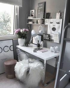 decoracao escritorio branco preto