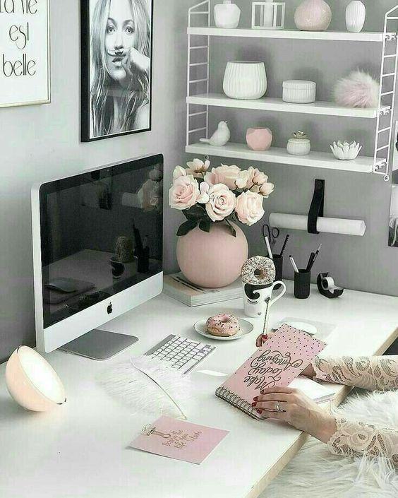 decoracao escritorio branco rosa