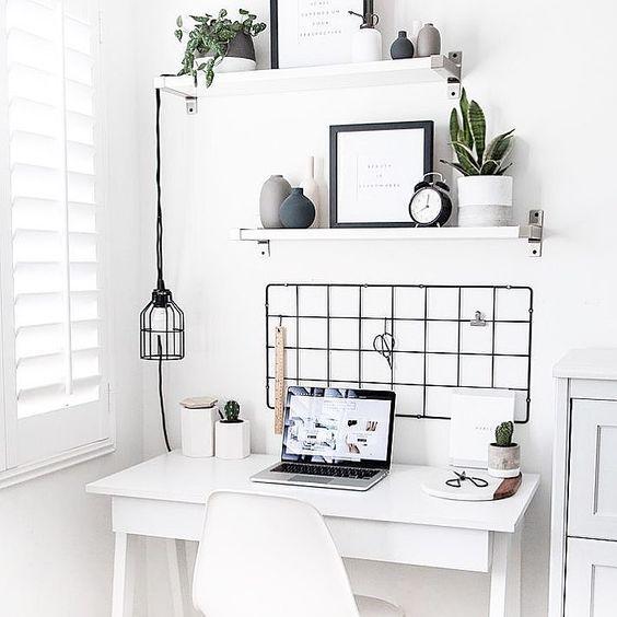 decoracao escritorio branco