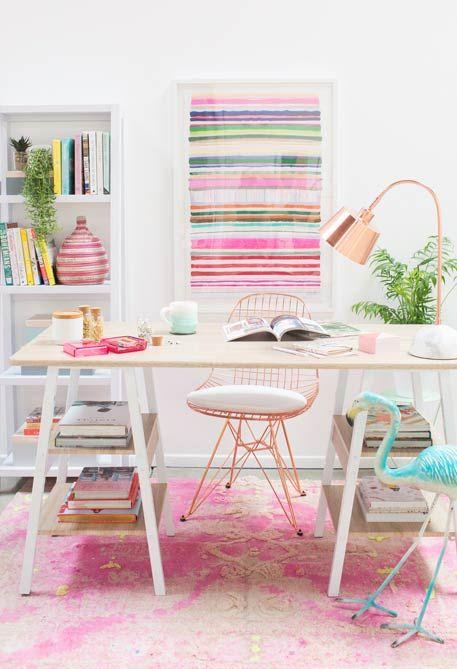 decoracao escritorio colorido feminino