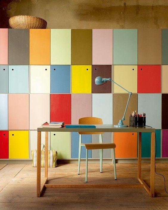 decoracao escritorio colorido simples