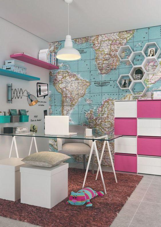 decoracao escritorio colorido