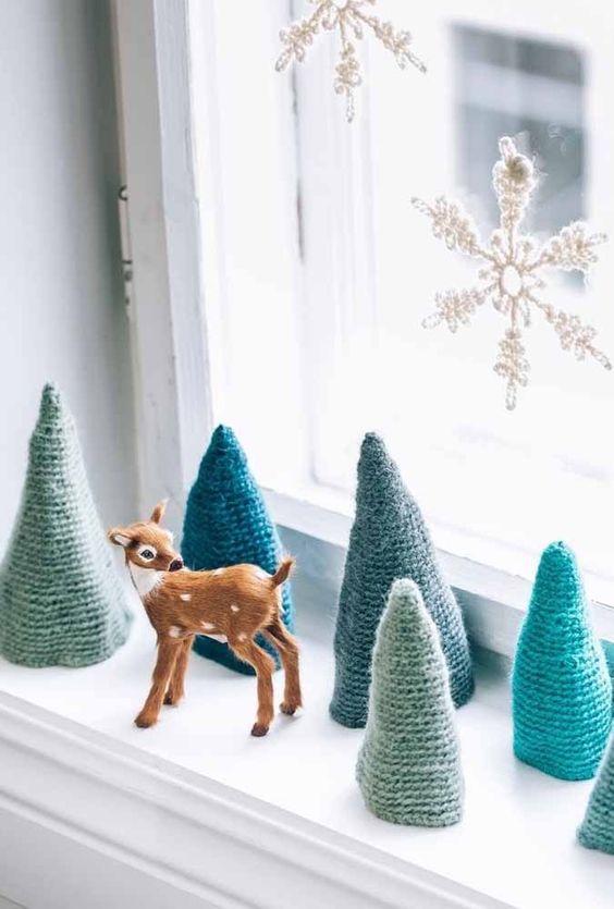 decoracao janela natal arvore artesanato