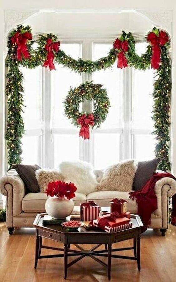 decoracao janela natal coroa