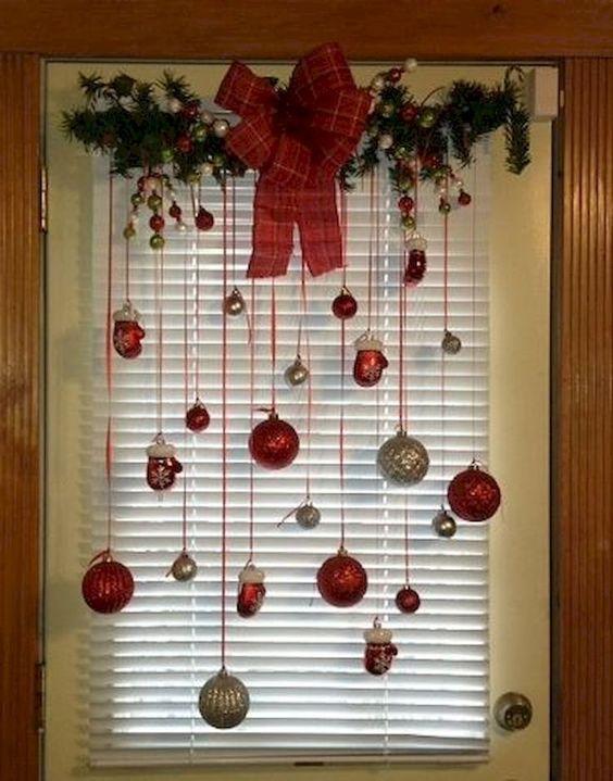 decoracao janela natal fitas