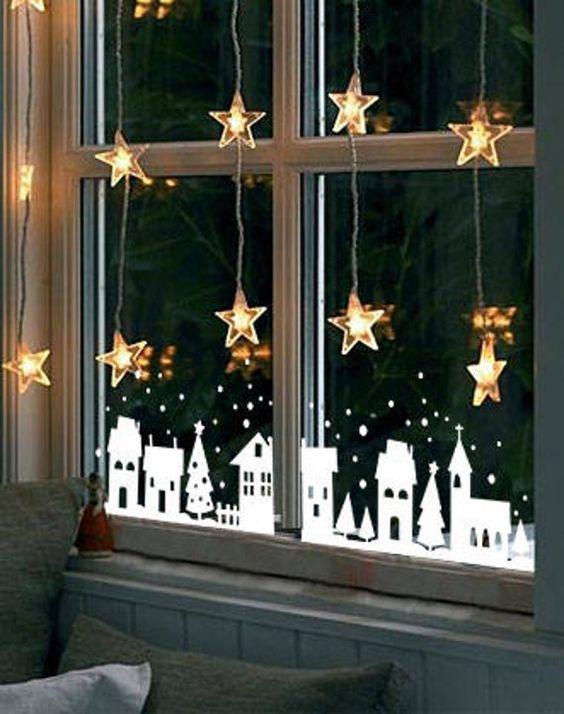 decoracao janela natal moldes branco