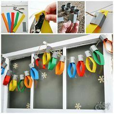 decoracao janela natal origami luzes