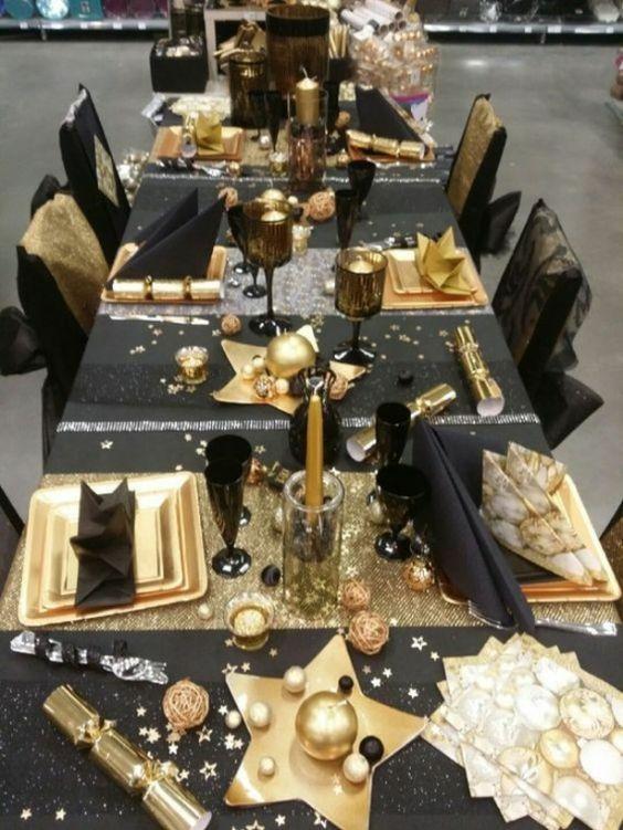 decoracao mesa natal dourada ideias