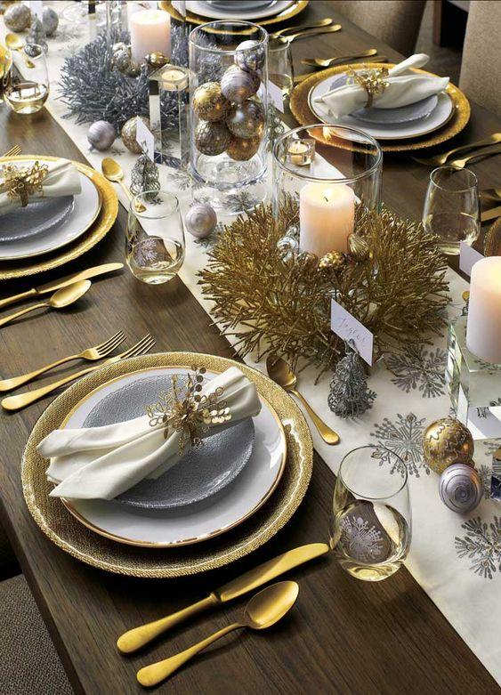 decoracao mesa natal dourada simples