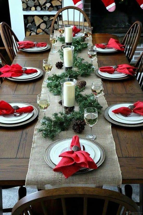 decoracao mesa natal simples vela