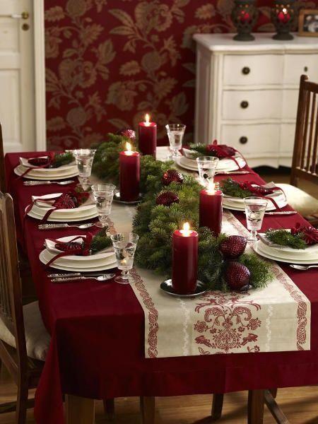 decoracao mesa natal simples vermelha