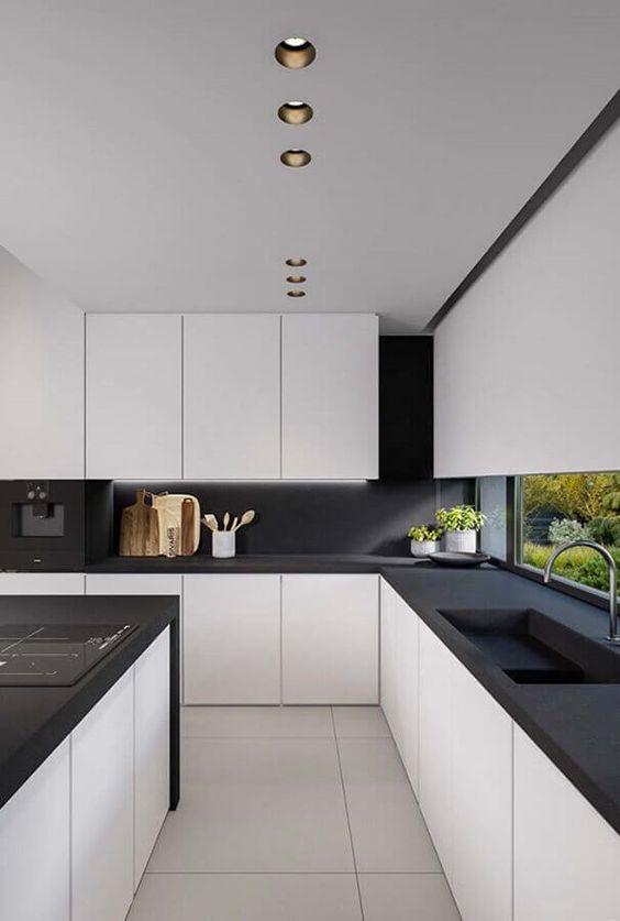 decoracao minimalista cozinha preto branco