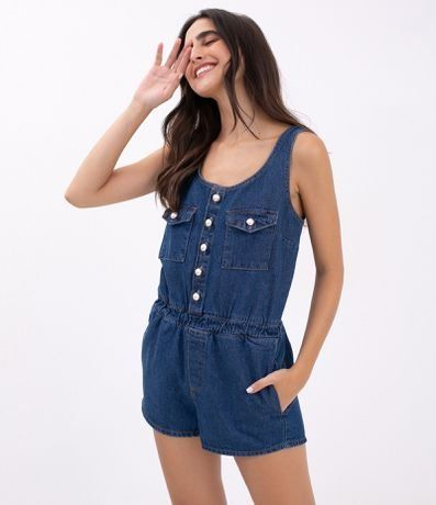 macacao jeans curto casual