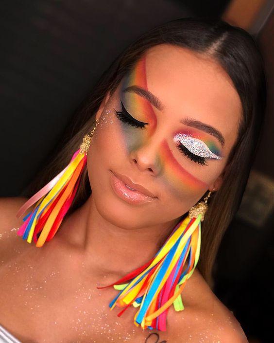 maquiagem caranaval colorida