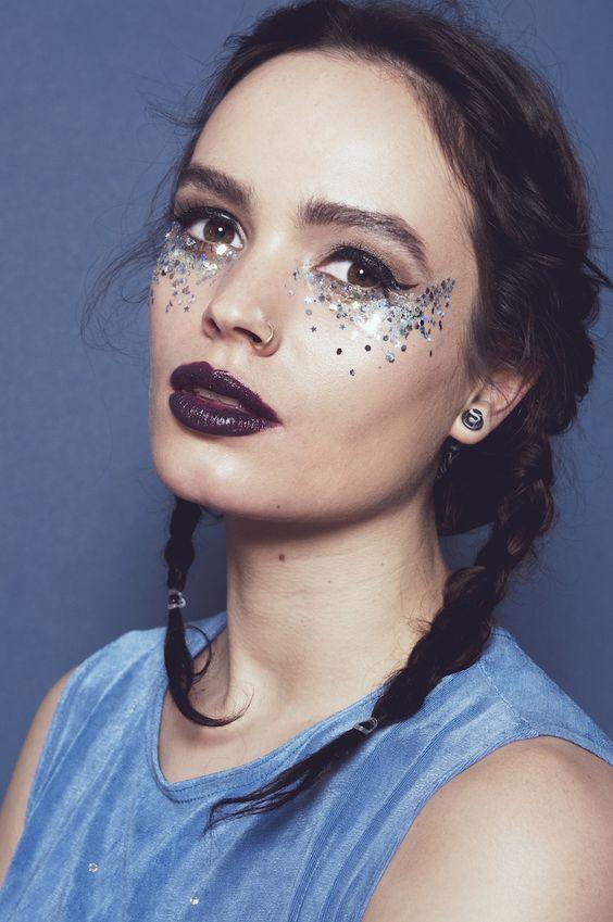 maquiagem carnaval prateada