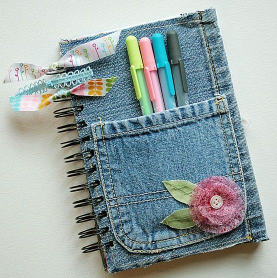 reciclar jeans velhos agenda flor