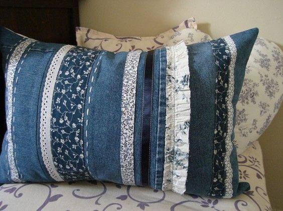 reciclar jeans velhos almofada