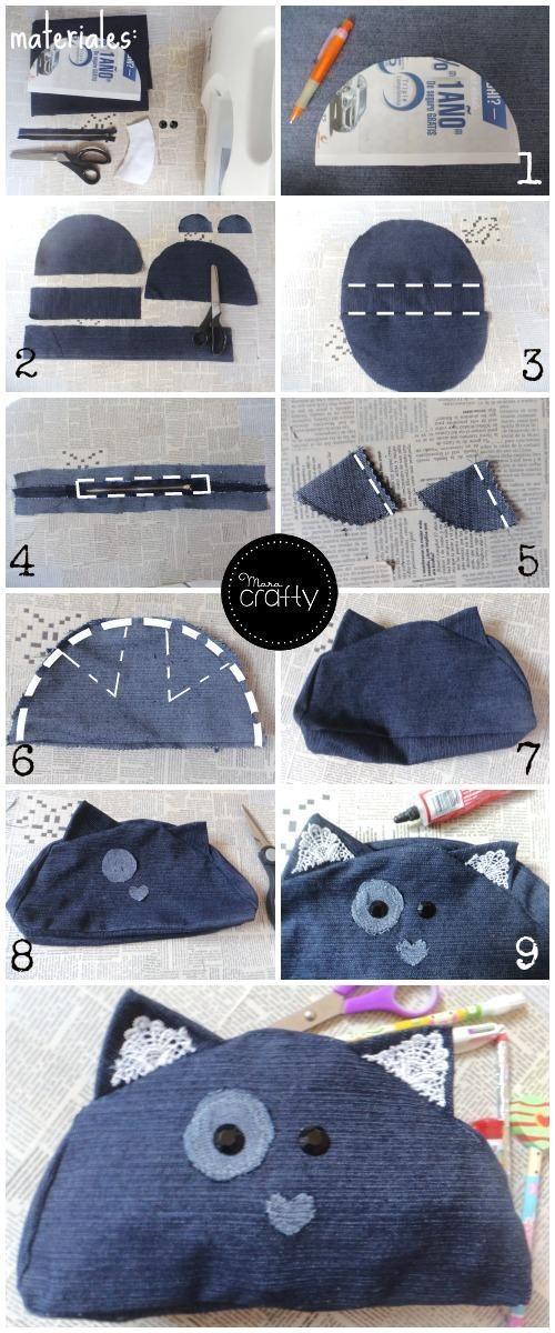 reciclar jeans velhos porta moedas gato