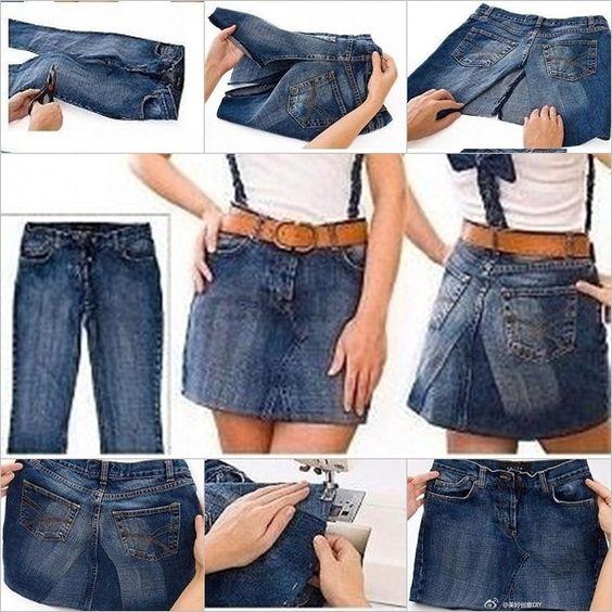 reciclar jeans velhos saia