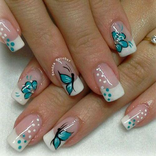 unhas decoradas borboletas azul verao