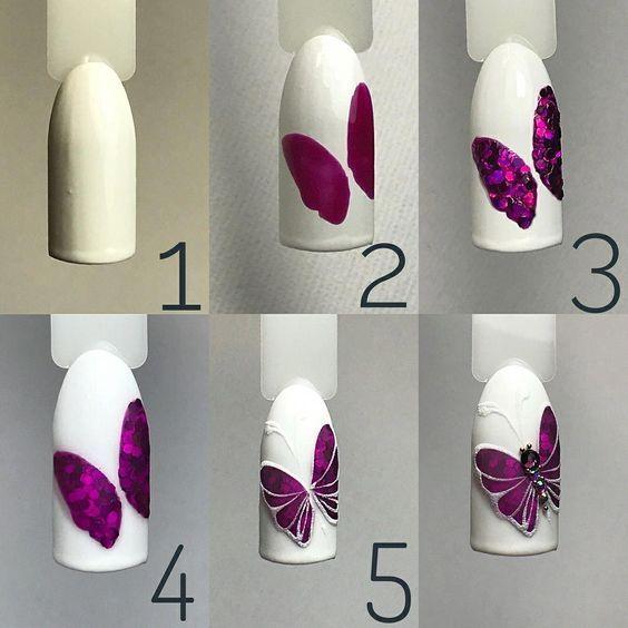 unhas decoradas borboletas passo passo decorada
