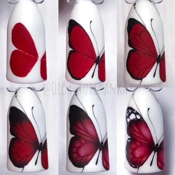 unhas decoradas borboletas passo passo vermelha