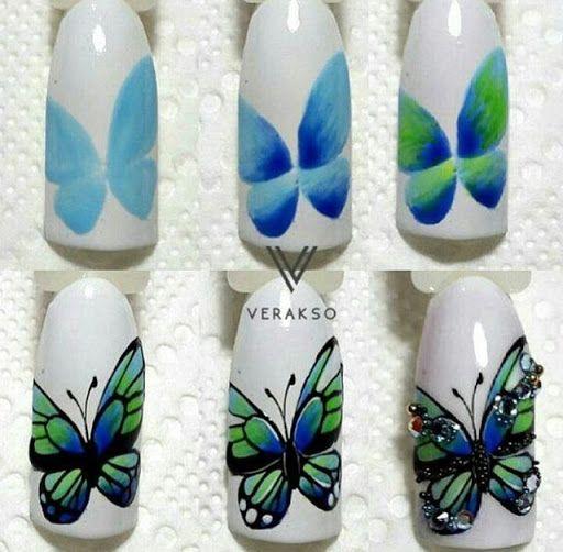 unhas decoradas borboletas passo passo