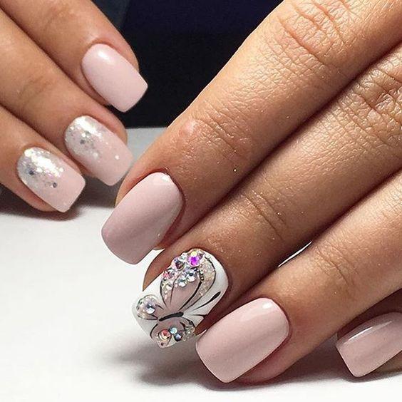 unhas decoradas borboletas rosa