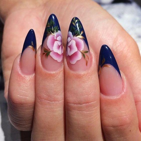 unhas florais francesinha