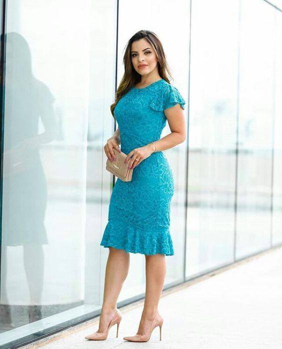 vestido evangelico festa azul