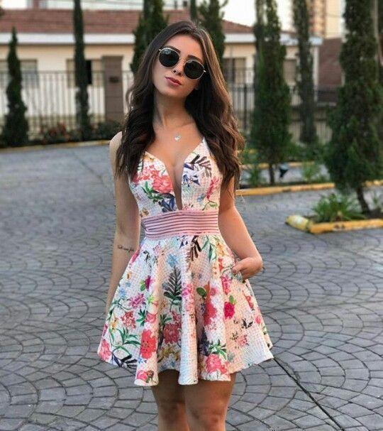vestido festa curto casamento floral