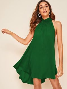 vestido festa curto simples verde
