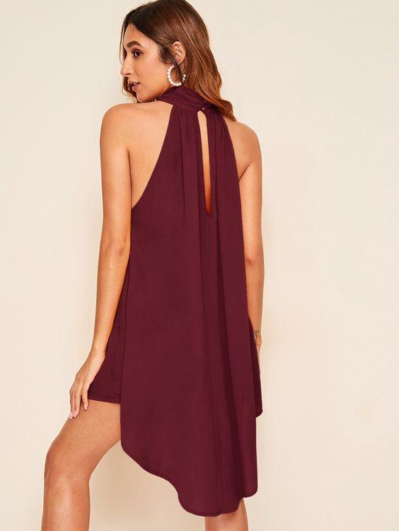 vestido festa curto simples vinho