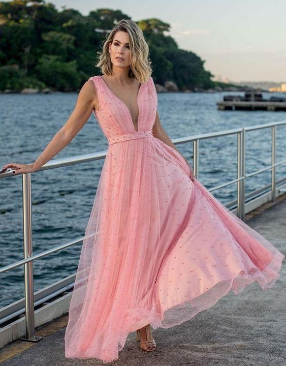 vestido festa longo tule