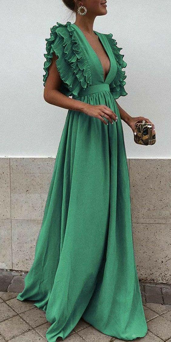 vestido festa verde longo