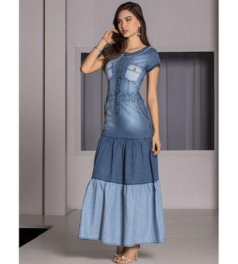 vestido jeans evangelico longo