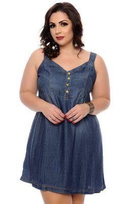 vestido jeans plus size curto