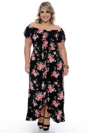 vestidos florido comprido plus size