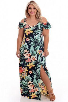 vestidos florido comprido simples