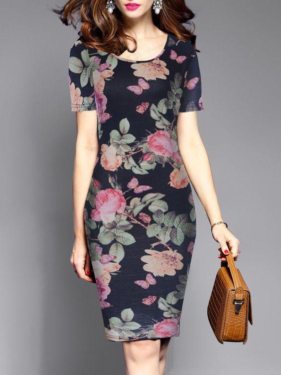 vestidos florido tubinho midi