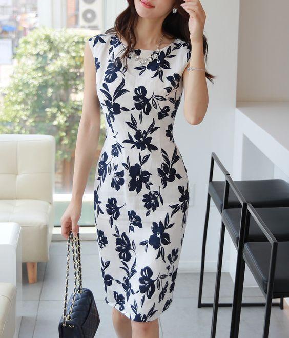 vestidos florido tubinho simples